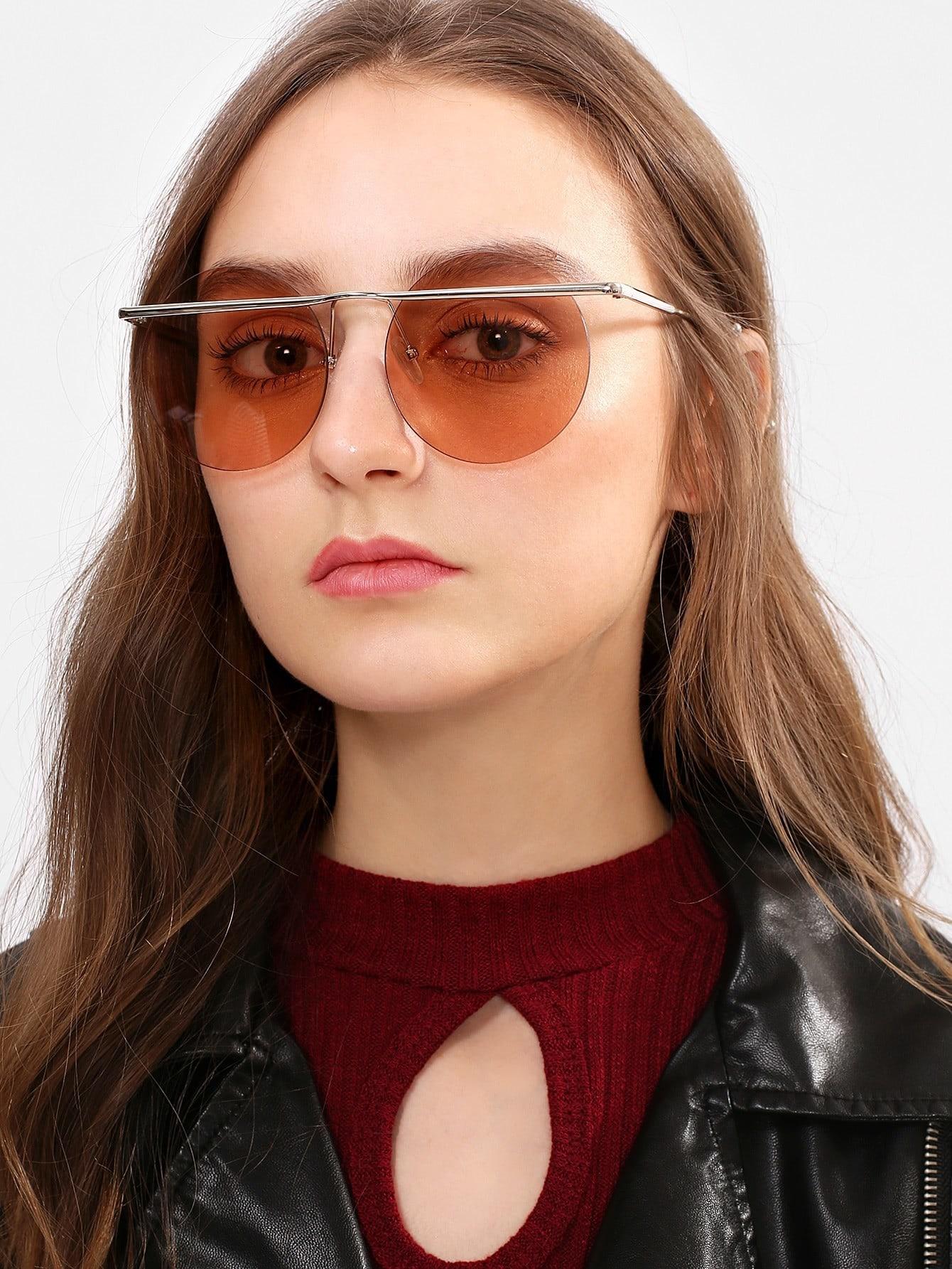 Rimless Round Lens Sunglasses