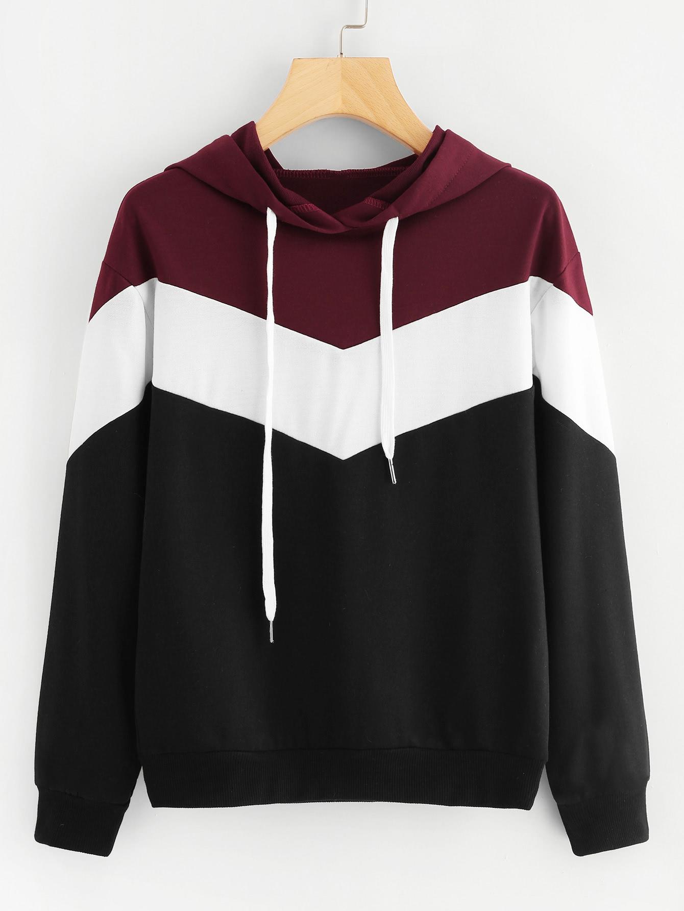 Купить Повседневный Контрастный цвет Пуловеры Многоцветный Свитшоты, null, SheIn