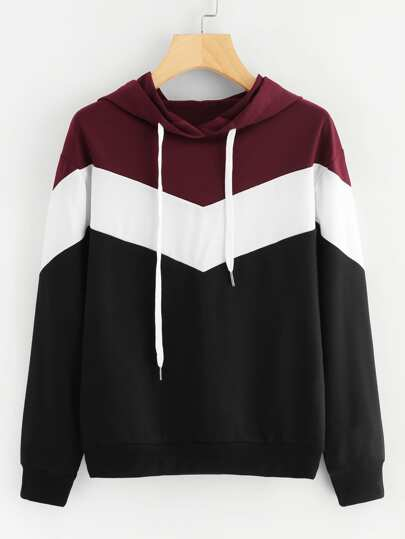 Cut And Sew Drawstring Hoodie