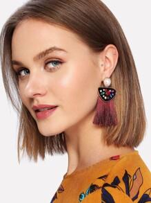 Rhinestone Top Fringe Drop Earrings