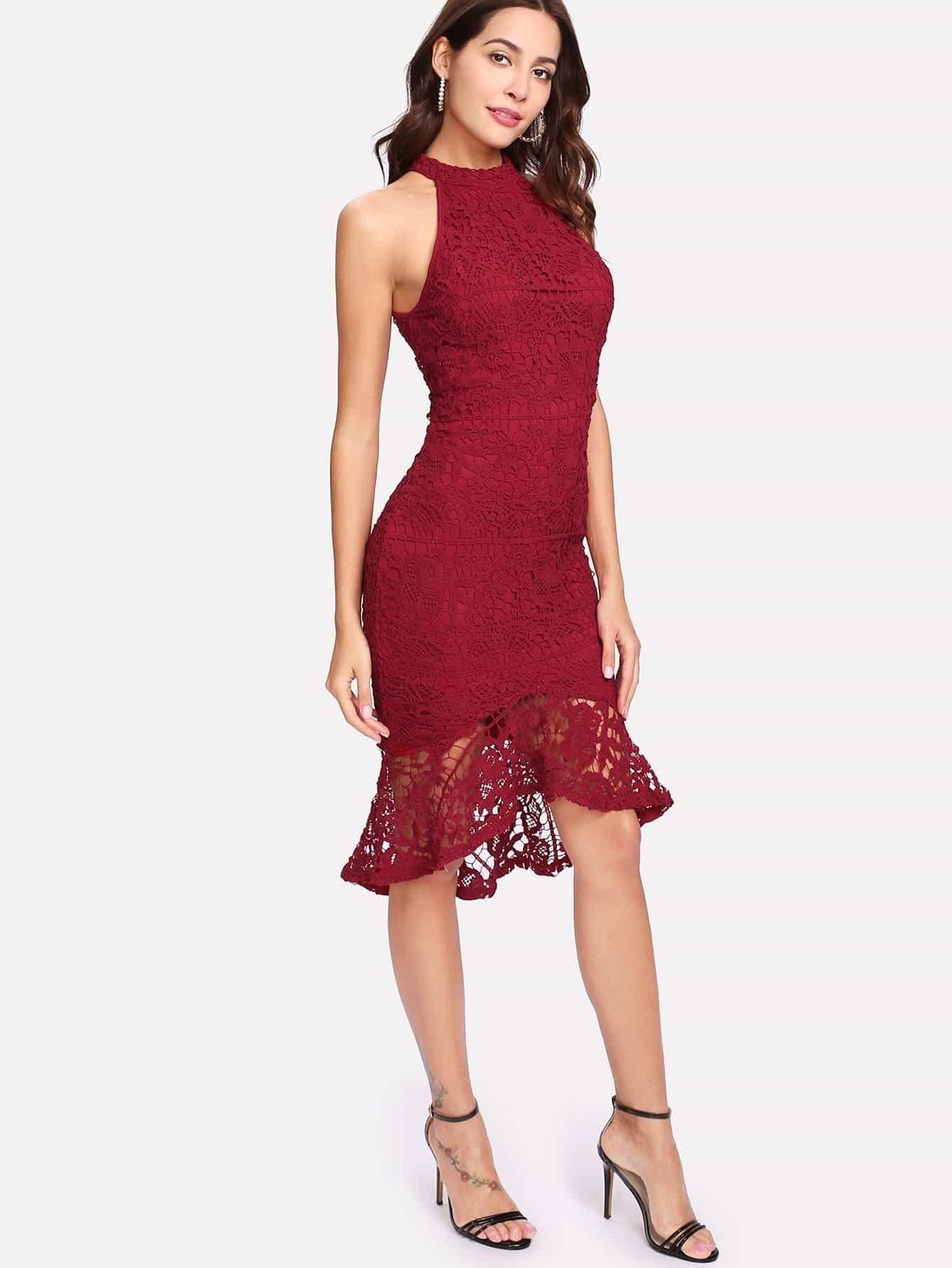 Купить Модное асимметричное кружевное платье с оборкой, Giulia, SheIn