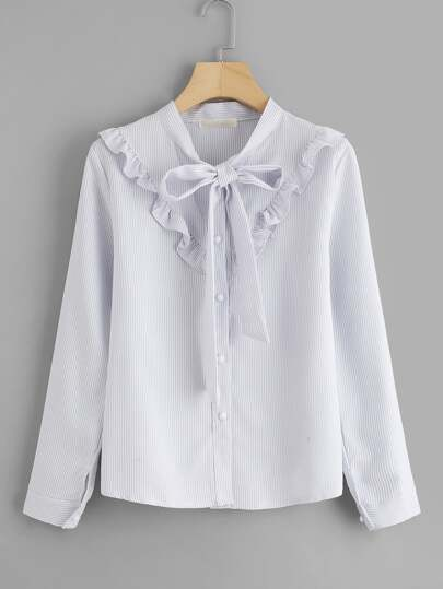 Frill Trim Tie Neck Pinstriped Shirt