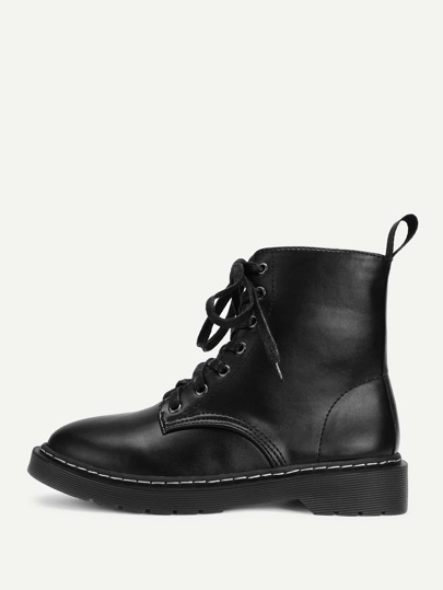 PU Lace Up Ankle Boots