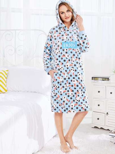 Rabbit Print Hooded Flannel Dress