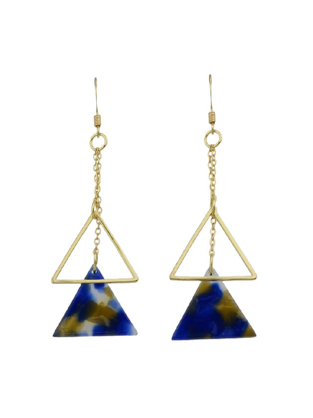 Blue Long Chain Triangle With Multicolored Natural Stone Dangle Earrings лак паркетный protex parke cila 40 полумат 0 75л