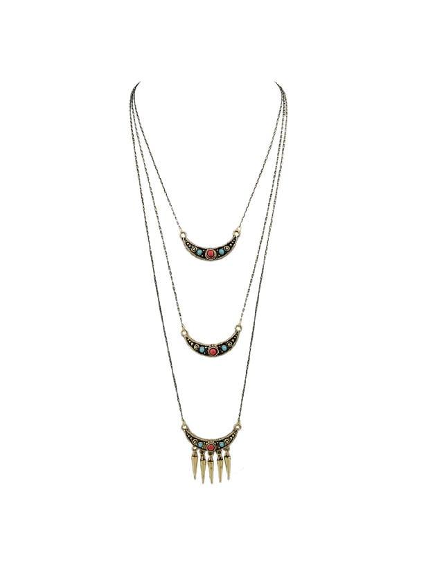 Spike Anhänger Halskette Boho Chic Multilayer Kette Halskette