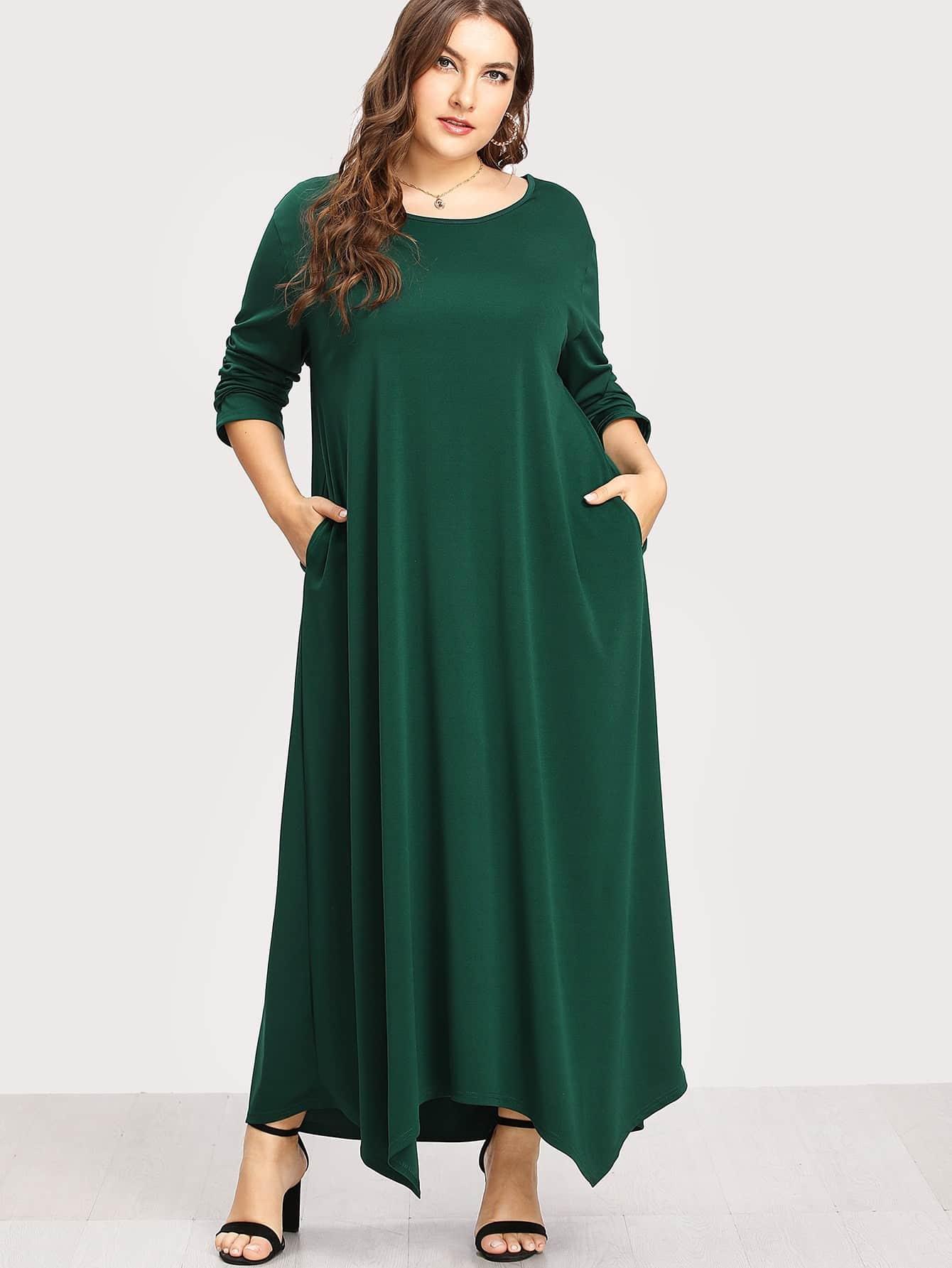 Plus Long Sleeve Solid Maxi Dress