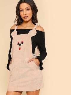 Self Tie Shoulder Animal Pattern Pinafore Dress