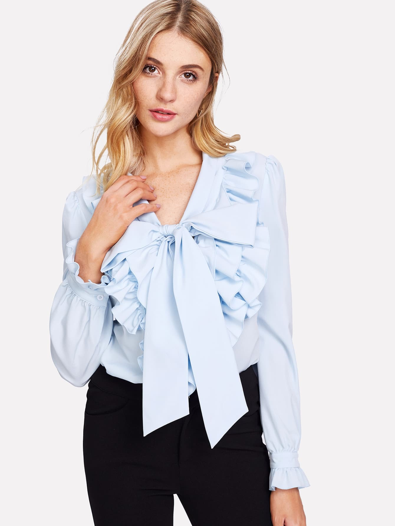 Exaggerate Bow Tie Neck Ruffle Trim Top exaggerate bow tie neck ruffle trim top