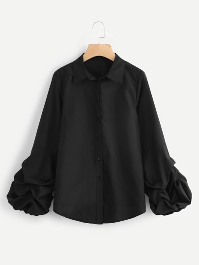 Gathered Lantern Sleeve Curved Hem Shirt