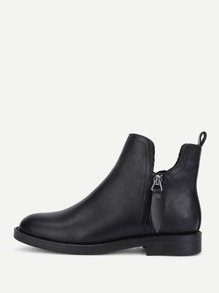 Round Toe Side Zipper PU Ankle Boots