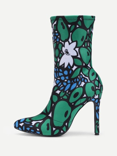 Pointed Toe Mixed Pattern Stiletto Boots