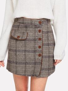 Button Up Front Plaid Skirt