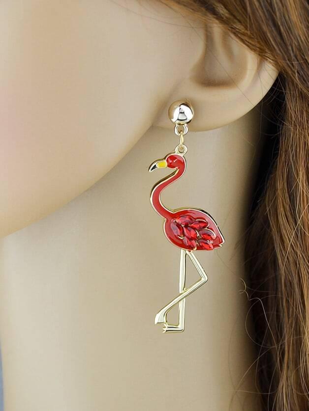 Boucles d 39 oreille en forme de flamant avec strass rouge for Interieur paupiere inferieure rouge