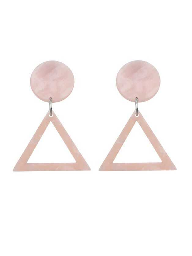 Acrylic Round Triangle Geometric Drop Earrings two tone round drop earrings