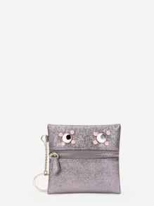 Eye Detail Zipper Front PU Wallet