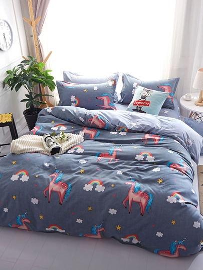 1.8m 4Pcs Animal & Rainbow Print Bedding Set