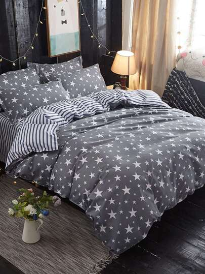 2.0m 4Pcs Star Print Duvet Cover & Sheet & Sham Set