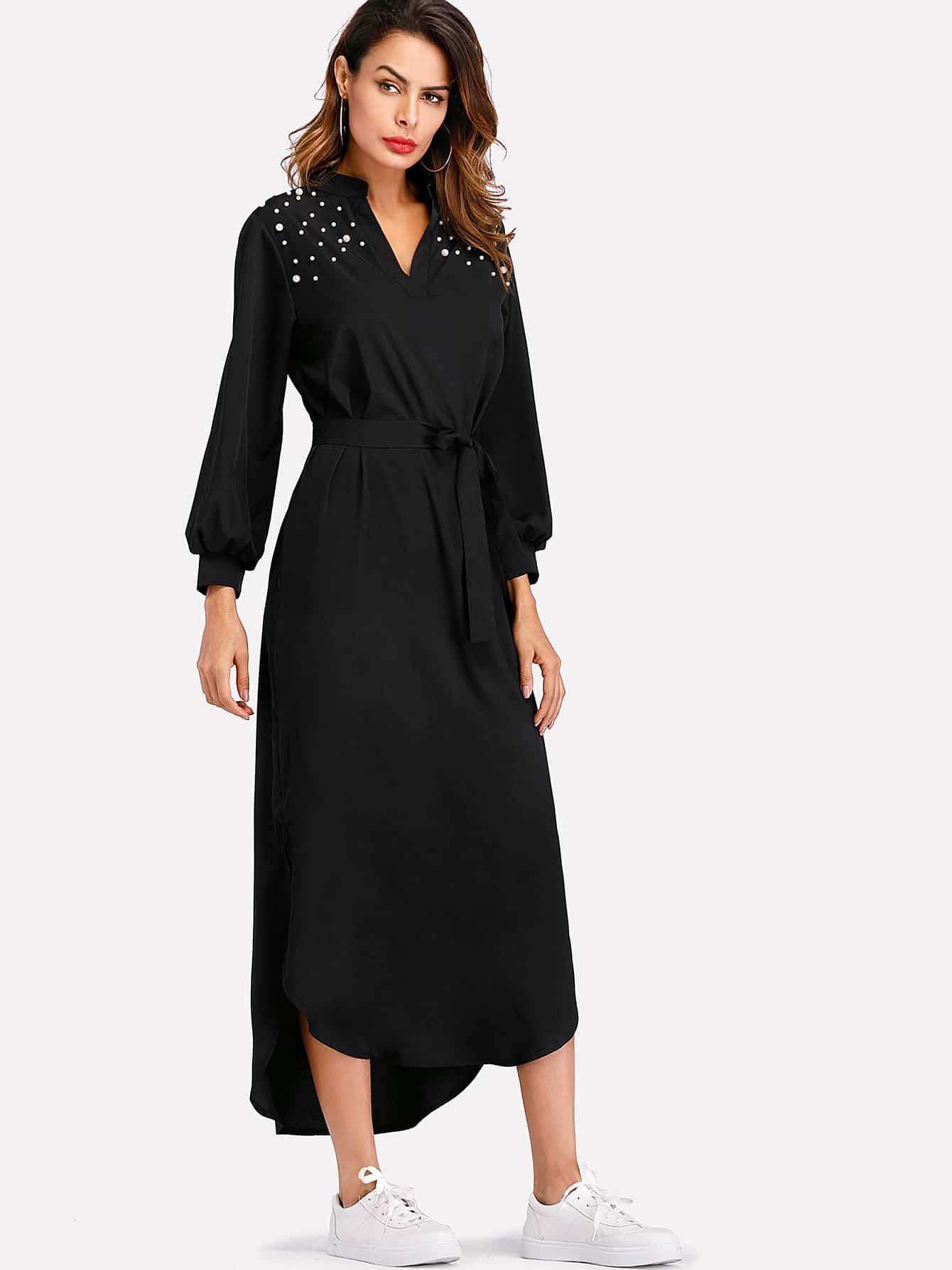 Curved Hem Pearl Beaded Self Tie Waist Dress rolled sleeve slit side curved hem self tie dress