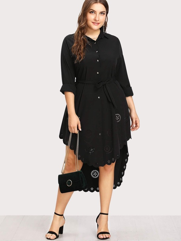 Plus Laser Cut Out Scallop Edge High Low Shirt Dress