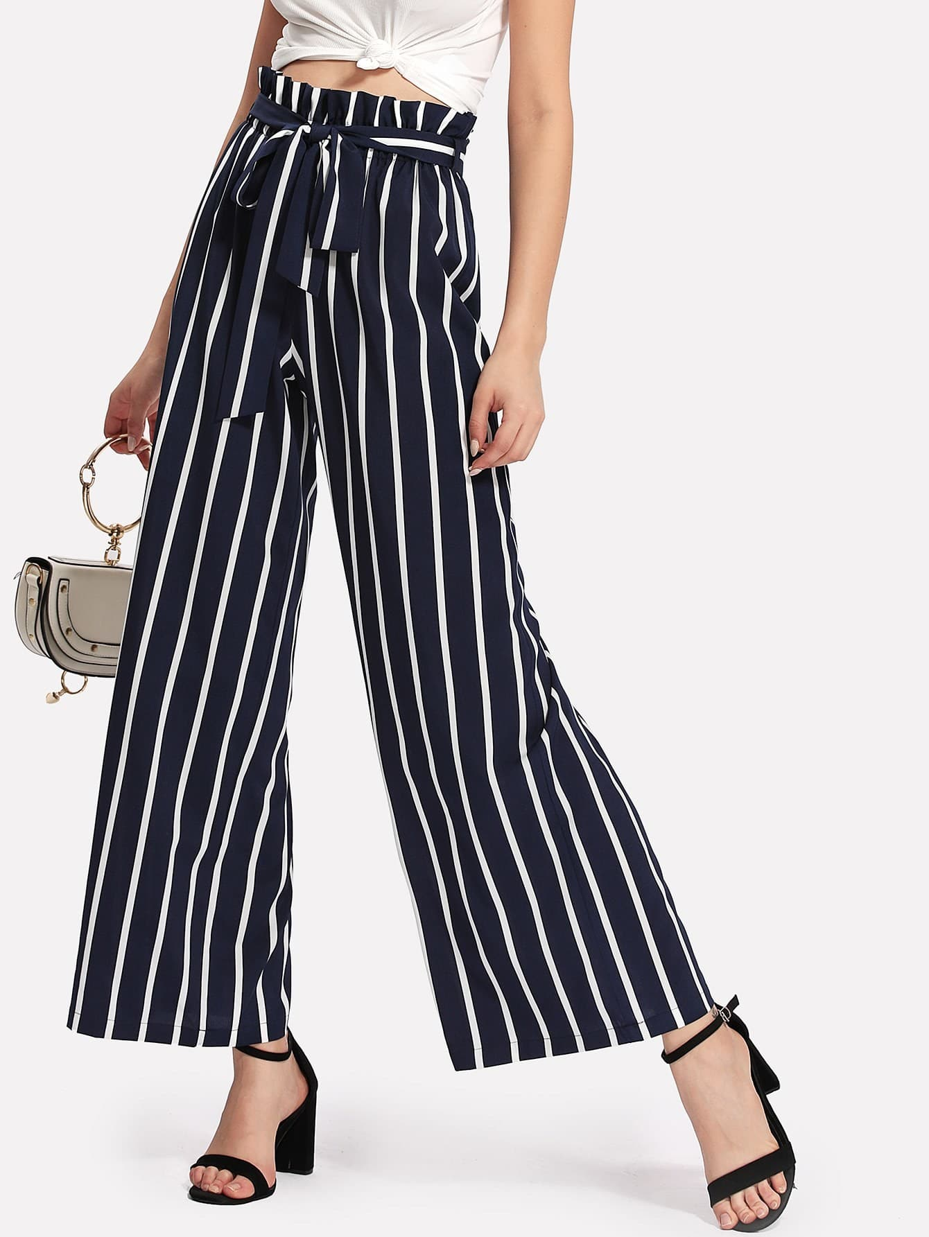 Image of Frilled Waist Striped Wide Leg Pants