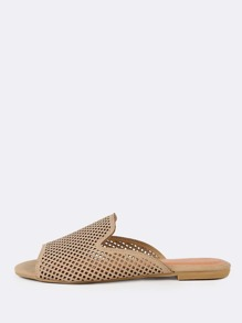Perforated Slip On Sandals NATURAL
