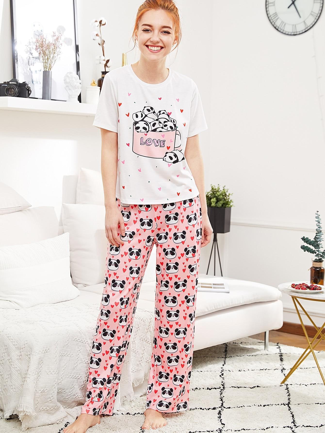Panda And Heart Print Tee & Pants PJ Set dog print tee and floral pants pj set