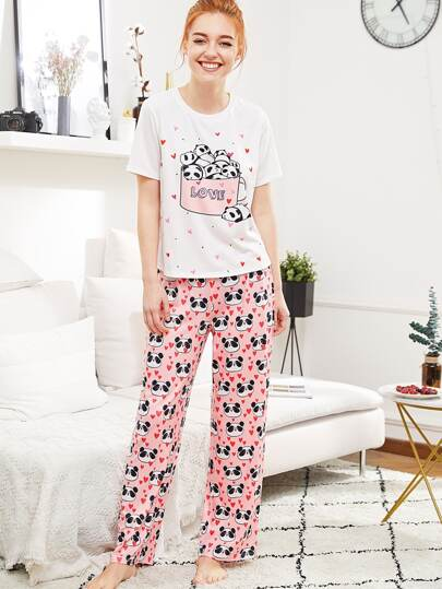 Panda And Heart Print Tee & Pants PJ Set