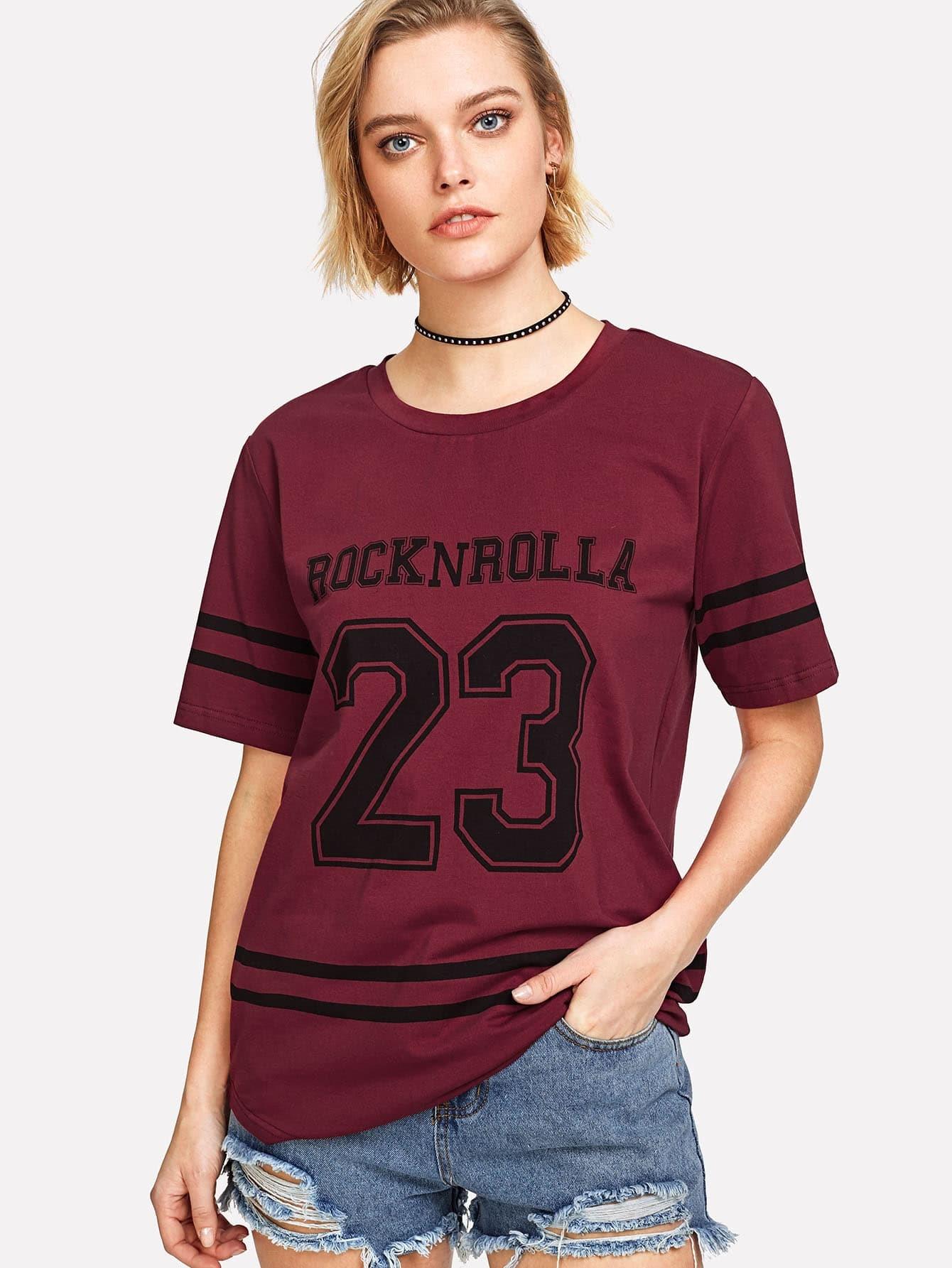 Varsity Print Curved Hem T-shirt pocket patch curved hem snake skin print shirt
