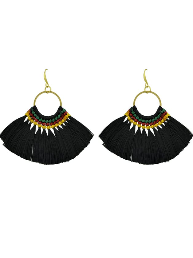 Black Boho Fan Shaped Earrings Ethnic Style Tassel Big Earrings rhinestone feather fan shaped boho jewelry earrings