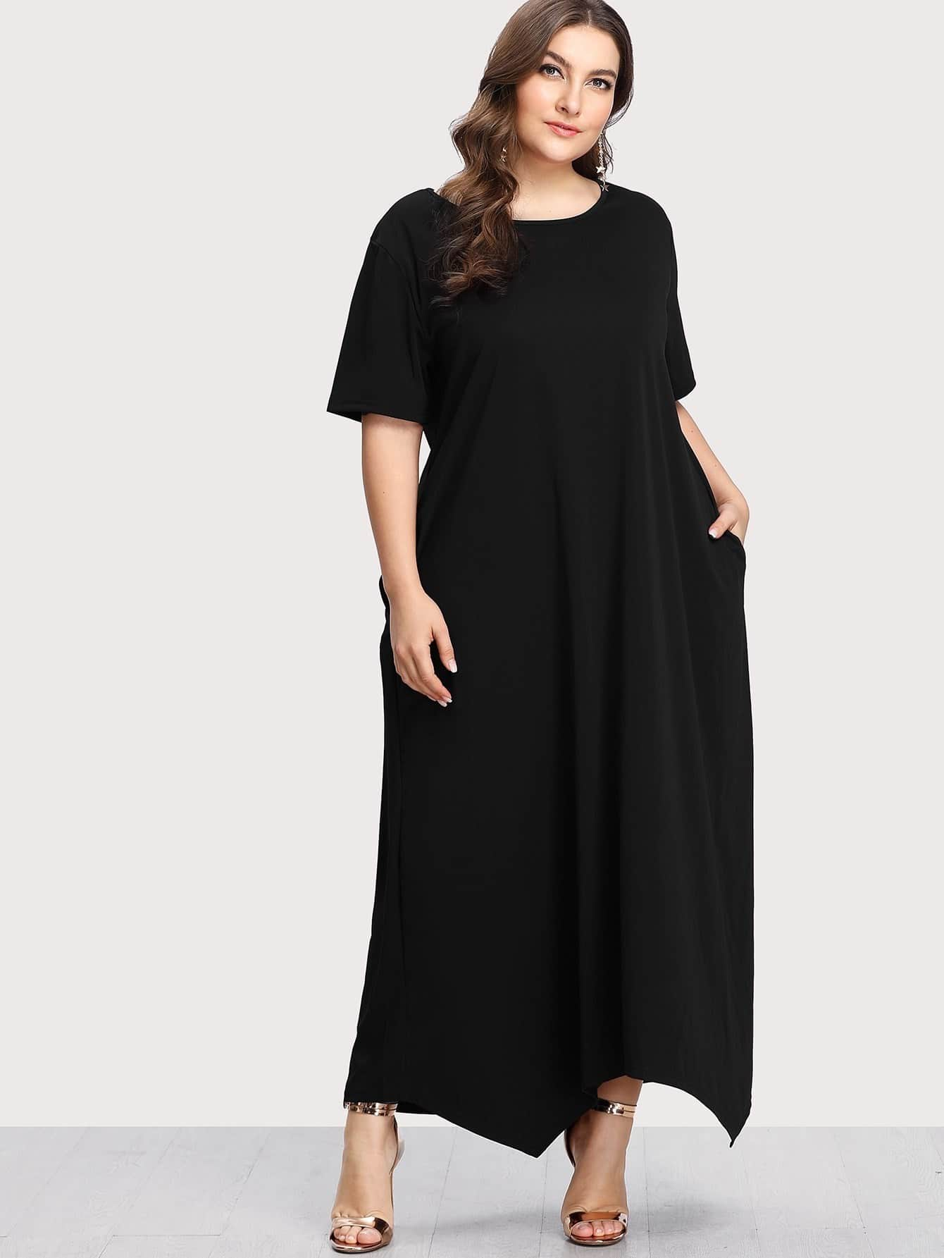 Image of Asymmetrical Solid Dress