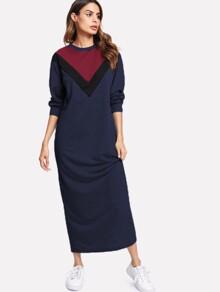 Contrast Chevron Panel Sweatshirt Dress
