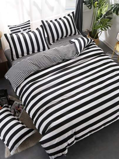 2.2m 4Pcs Modern Striped Duvet Cover Set