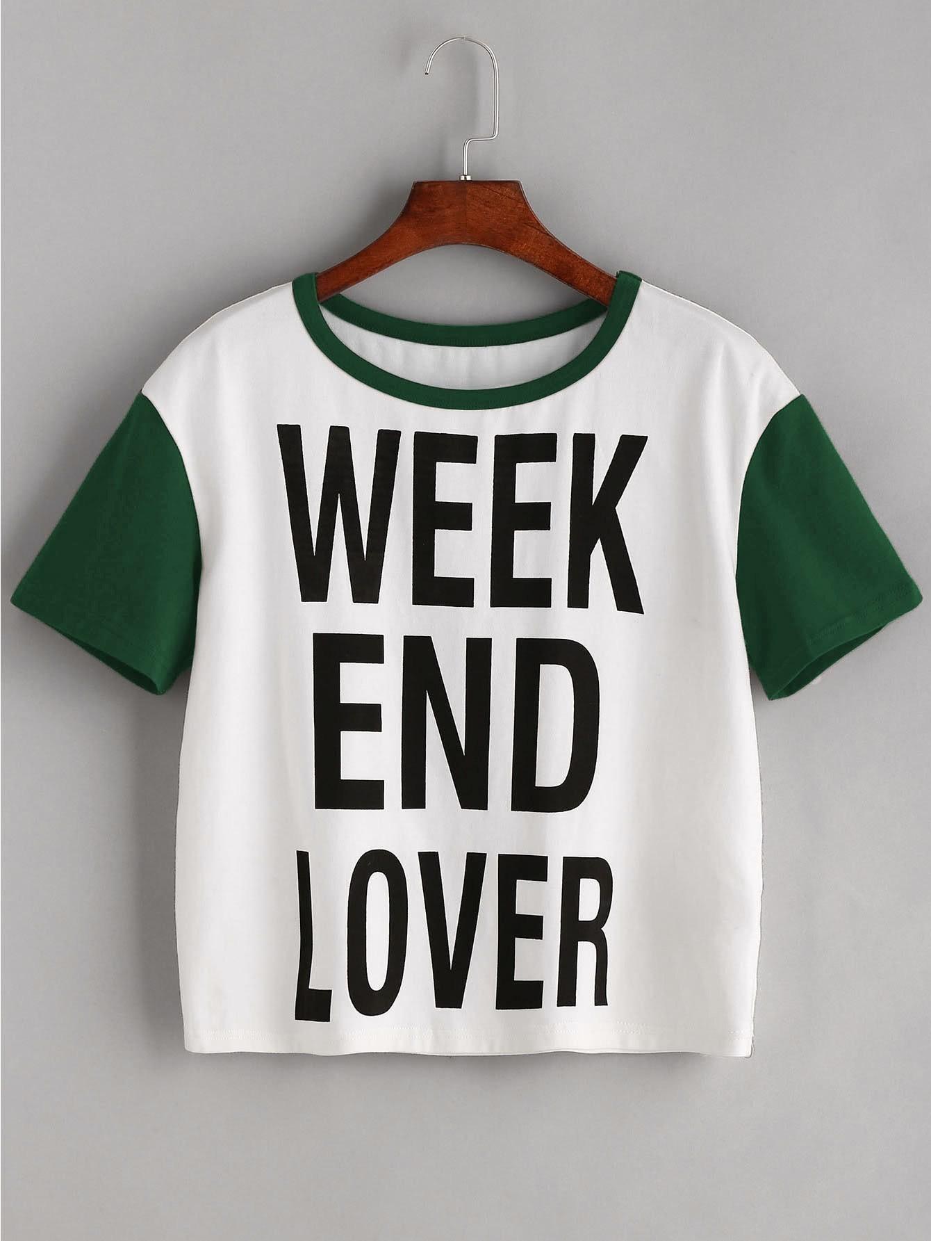 Slogan Print Contrast Short Sleeve T-shirt heather blue slogan print t shirt