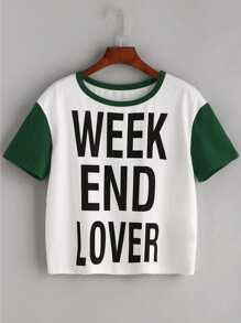 Slogan Print Contrast Short Sleeve T-shirt