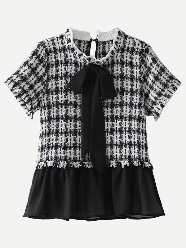 Image of 2 In 1 Plaid Peplum Blouse