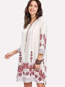 Tribal Flower Print Tunic Dress