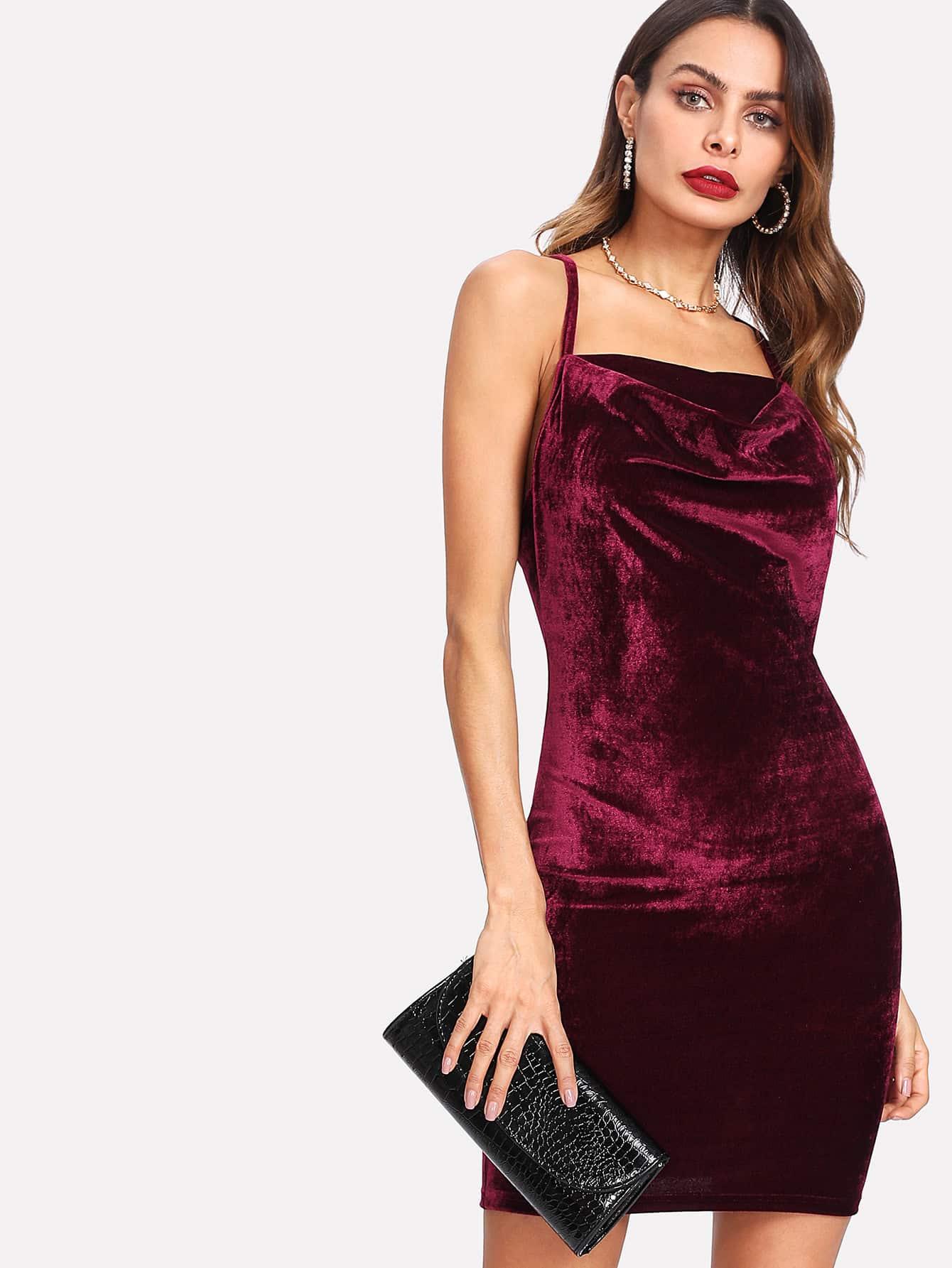 Lace Open Back Cami Velvet Dress dress171023702