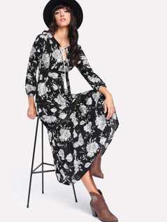 Tassel Tie Neck Lace Insert Floral Dress