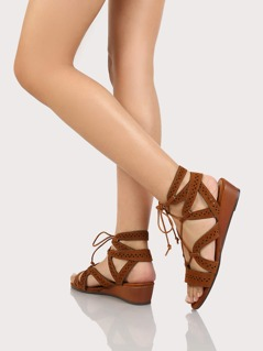 Geometric Strappy Gladiator Sandals CHESTNUT
