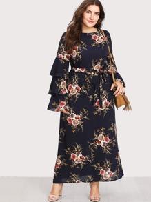 Botanical Print Self Tie Chiffon Dress