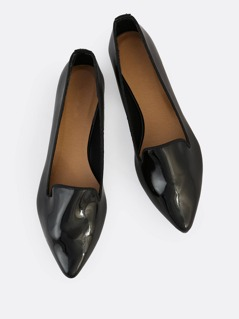 Patent Point Toe Loafer Flats BLACK