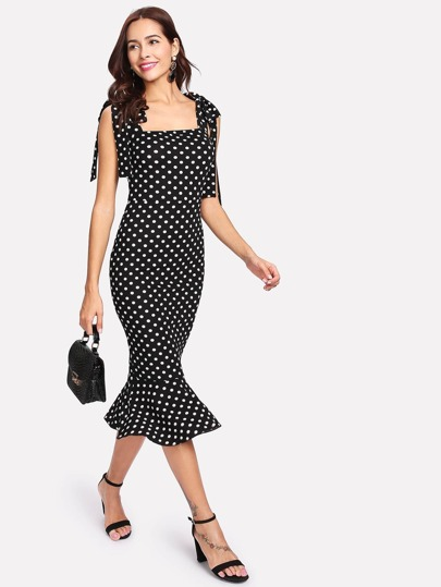 Self Tie Shoulder Polka Dot Ruffle Hem Dress