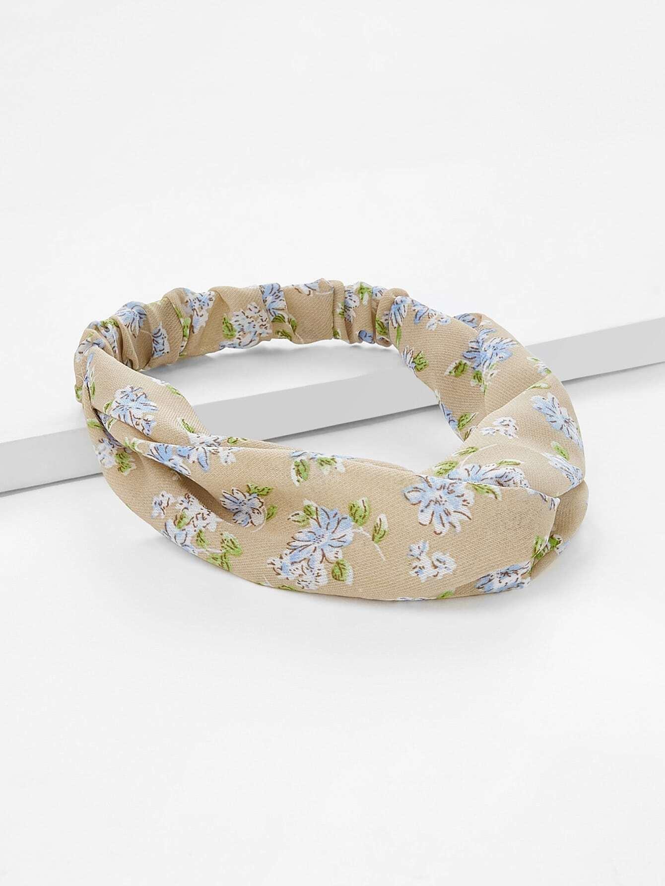 Twist Design Calico Print Headband letter print twist headband