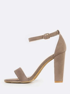 Chunky Open Toe Strap Heels TAUPE