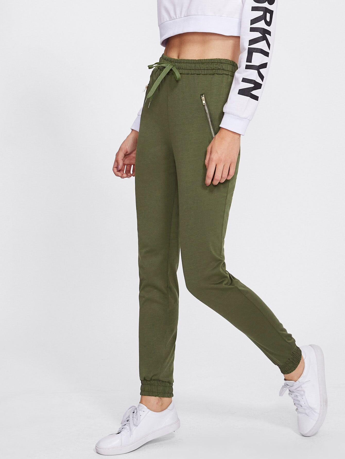 Elastic Hem Drawstring Waist Zip Detail Pants elastic waist scallop ruffle hem pants