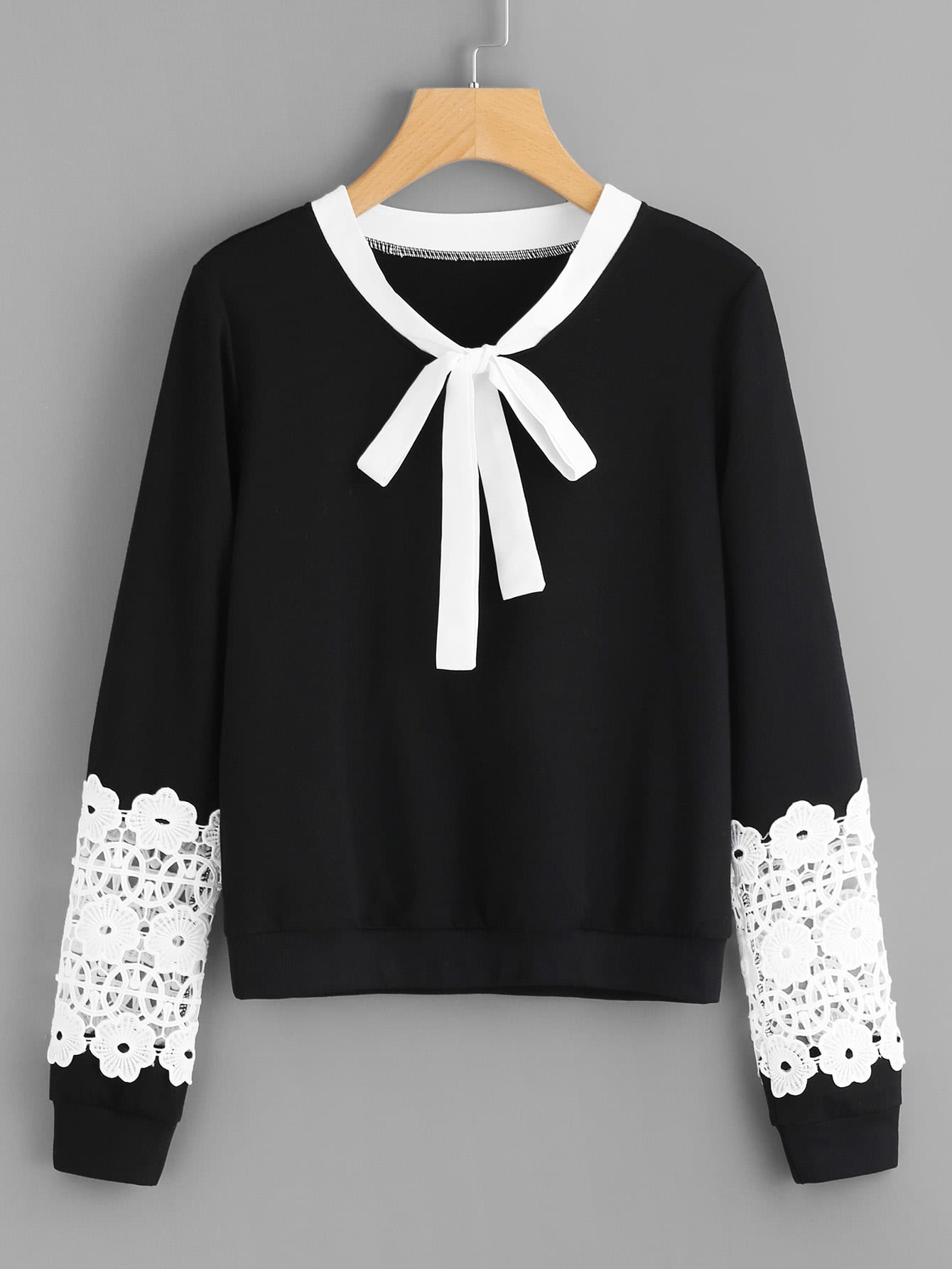 Contrast Crochet Bow Tie Neck Pullover