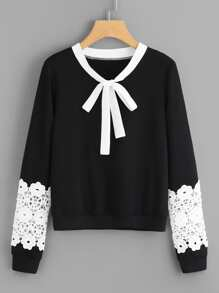 Contrast Crochet Bow Tie Neck Pullover