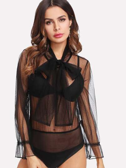 Tie Neck Sheer Mesh Blouse Bodysuit
