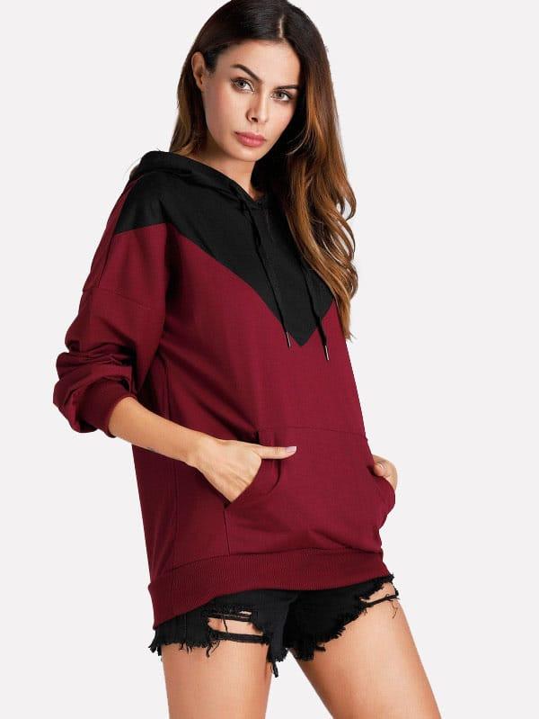 Kangaroo Pocket Color Block Hoodie plaid kangaroo pocket hoodie
